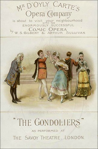 "Turnéaffisch ""The Gondoliers""."